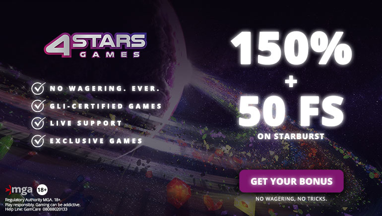150% Welcome Bonus & 50 Free Spins at 4StarsGames