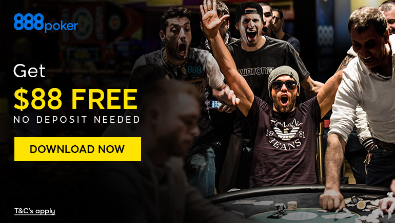 Kick Start Your Poker Career with $88 Free at 888poker