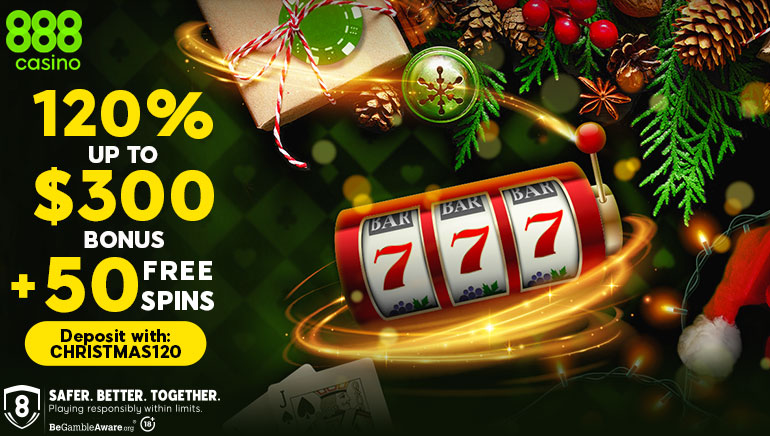 Christmas Comes Early With 888 Casino: 120% Bonus up to $300 & 50 Spins