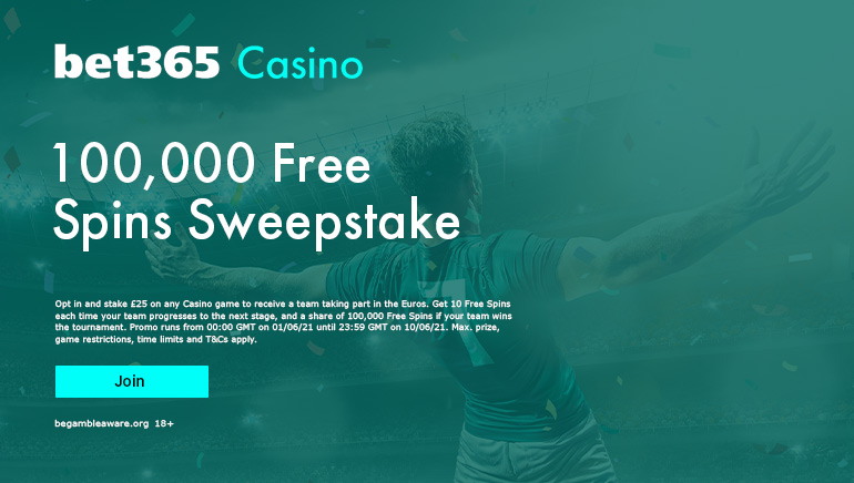 120,000 Free Spins Promo for Euro 2020 at Bet365 Casino