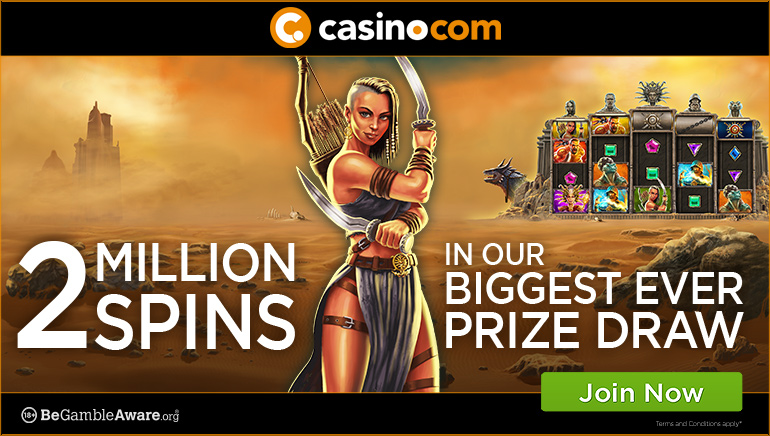 Casino.com Giving Away Heaps of Spins in Kingdom of 2 Million Spins Promo