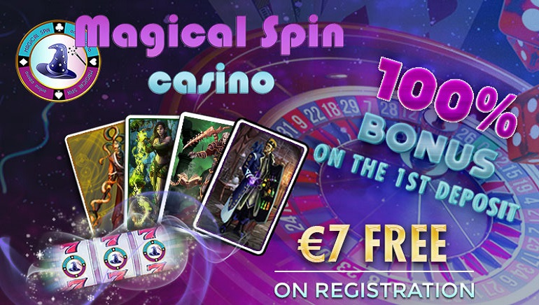Magical Spin Casino's 100% Welcome Bonus with 50 Free Spins & €7 Free