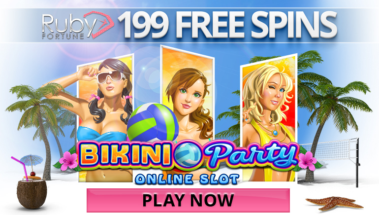 Get 10 No Deposit Free Spins on Bikini Party at Ruby Fortune Casino