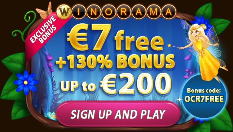 Get €7 Free + 130% up to €200 at Winorama Casino