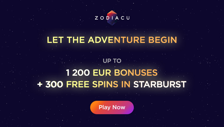 Start With a Huge €1200 + 300 Free Spins Welcome at Zodiacu Casino