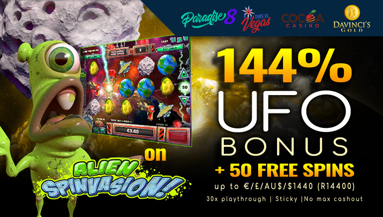 Claim 50 Free Spins and up to $1,440 in Cash With Special UFO Bonus