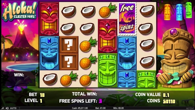 Aloha Cluster Pays™ Slot Machine Game to Play Free in NetEnts Online Casinos