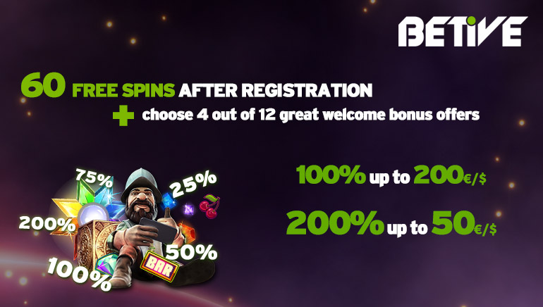 Enjoy 60 Freespins and a Customized Welcome Bonus at Betive Casino