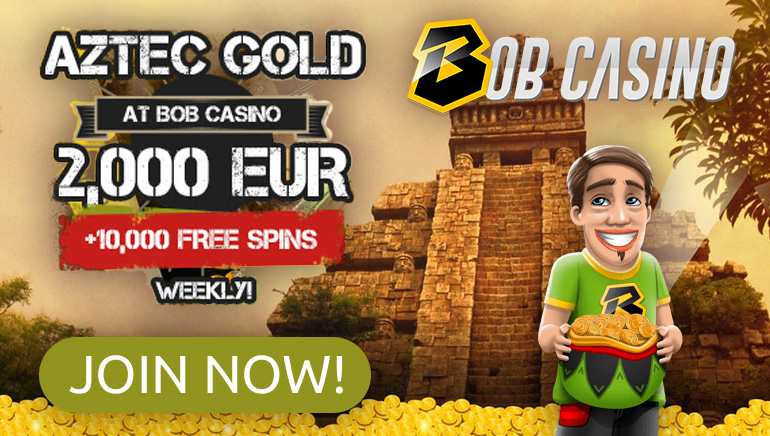 €2,000 in Prizes and 10k Freespins up for Grabs in Bob Casino's Treasure