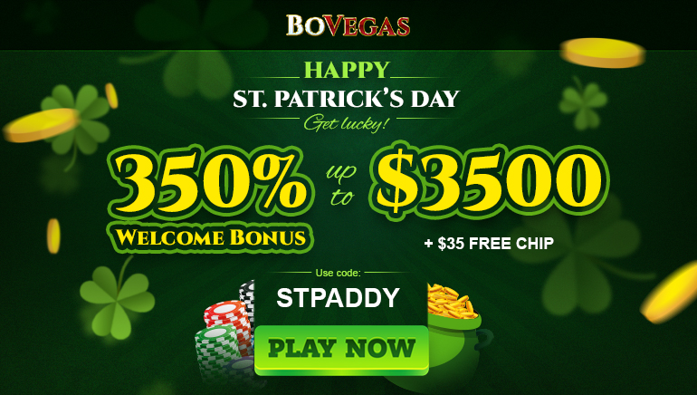 350% up to $3500 and $35 Free Chips at BoVegas Casino for St. Patrick's Day