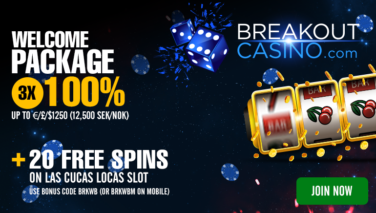 20 Free Spins and Plenty of Cash at Breakout Casino