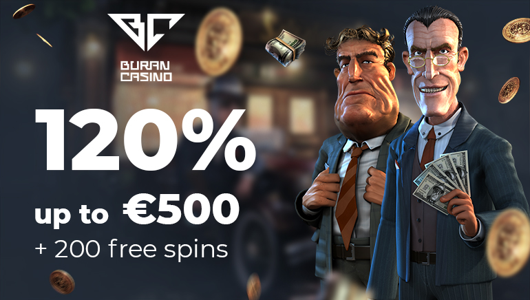 120% up to €500 and 200 Free Spins at Buran Casino