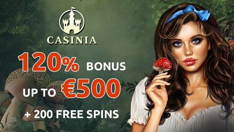 Exclusive 120% up to €500 and 200 Free Spins at Casinia Casino