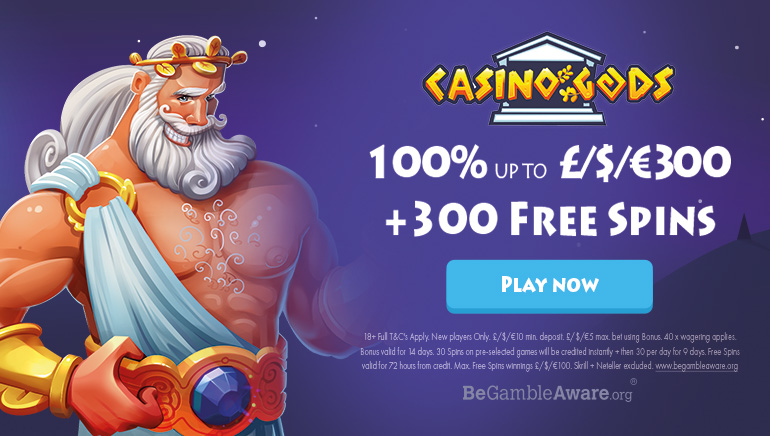 Join the Pantheon With $300 Bonus & 300 Free Spins at Casino Gods