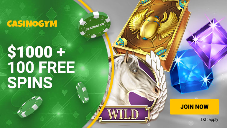 Claim Bag Full of Bonuses at CasinoGym: Up to $1,000 + 100 Free Spins