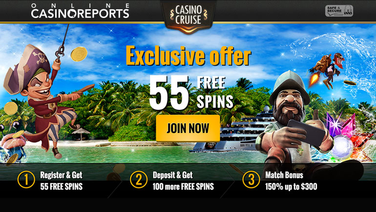 Casino Cruise Exclusive Offer: 55 No Deposit Free Spins