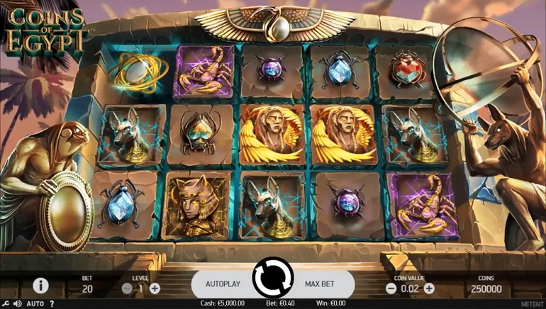 NetEnt's Coins of Egypt Slot Rolls Out