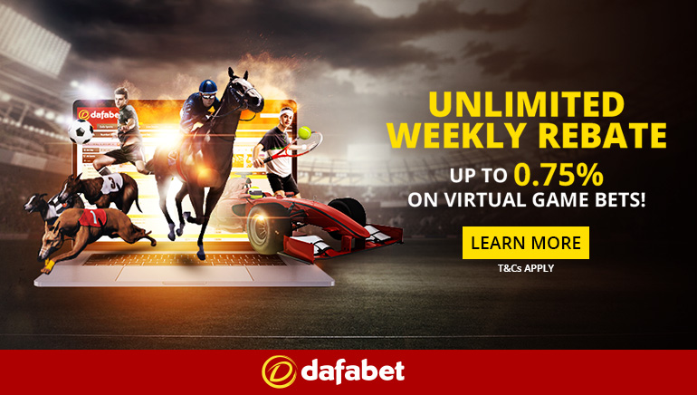 Dafabet Offering 0.75% Unlimted Rebate on Virtual Sports