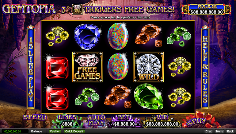 Shine On You Dazzling Diamond: Gemtopia Slot from RealTime Gaming Releases