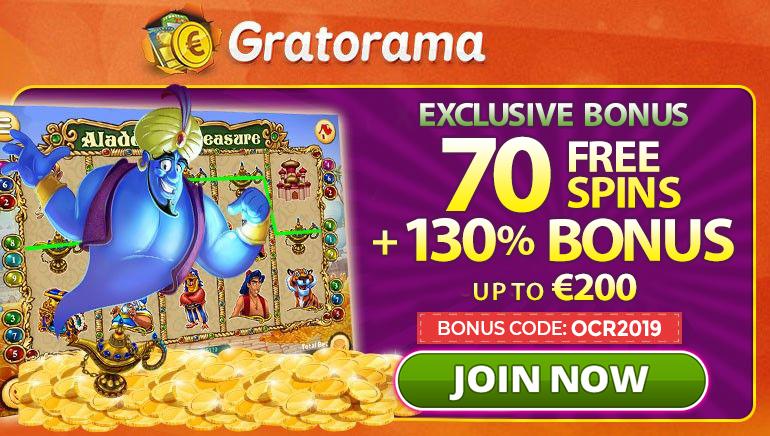 Gratorama's Exclusive 130% Bonus up to €200 + 70 Free Spins