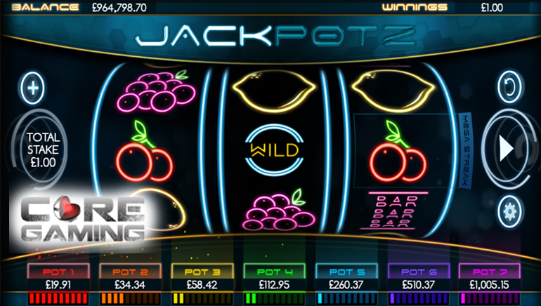 CORE Gaming's New Jackpotz Slot Releases with Seven Progressive Jackpots