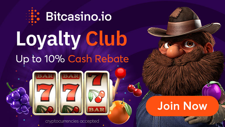 Join BitCasino Loyalty Club Featuring up to 10% Rebates & Dynamic Rewards