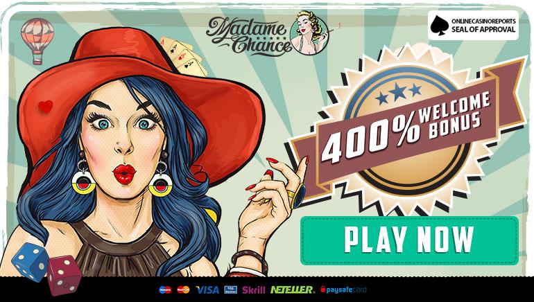 Whopping 400% New Player Match Bonus up to €800 at Madame Chance Casino