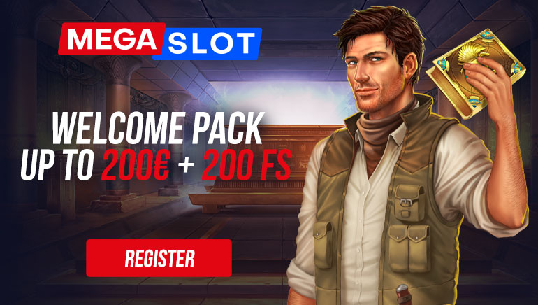 MEGASLOT - Welcome pack up to €200 +200 free spins