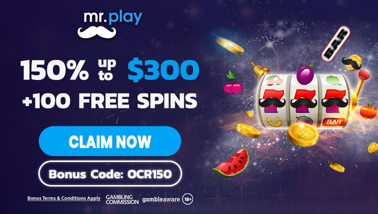 Exclusive 150% up to $300 and 100 Free Spins at mr. play Casino
