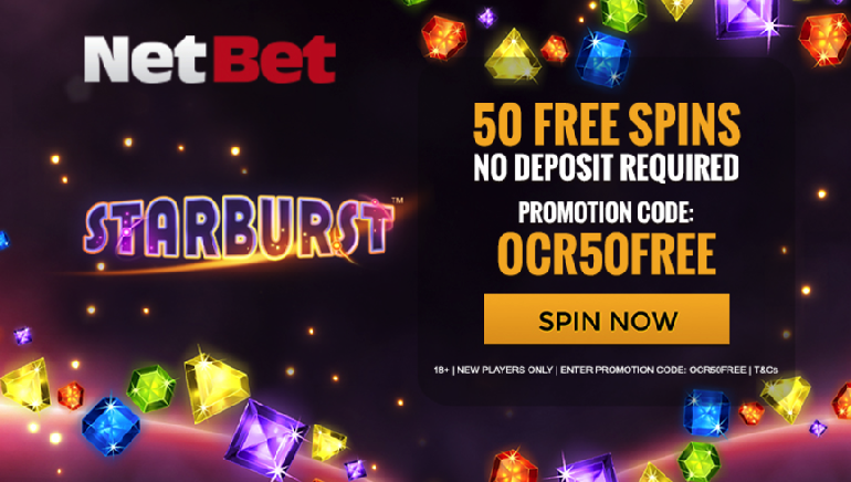 Grab 50 No Deposit Starburst Freespins at NetBet Casino
