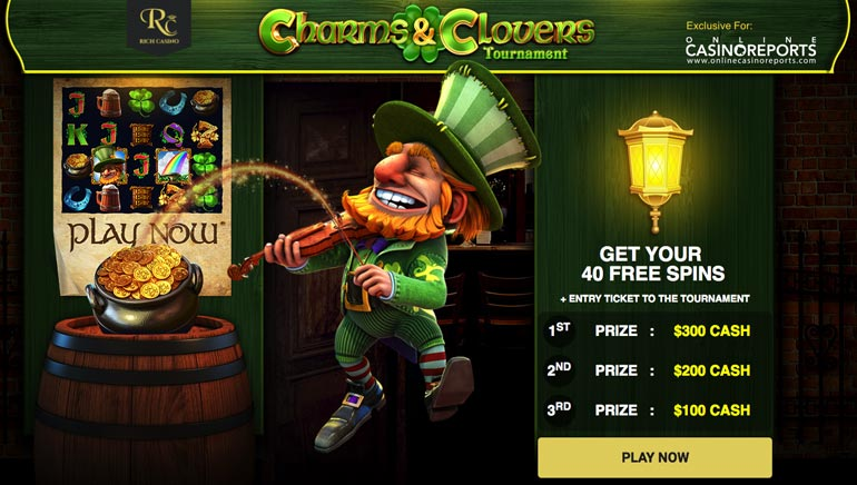 40 Freespins and Big Cash Prizes in Rich Casino's Charms & Clover Tournament