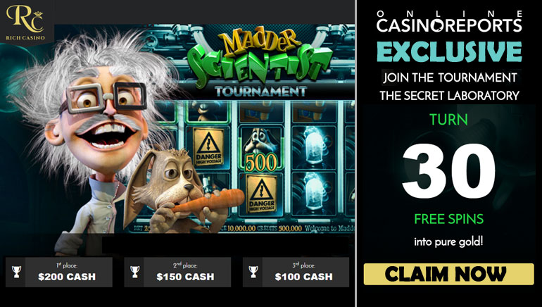Win Mad Cash Prizes with Rich Casino's Madder Scientist Tournament This May