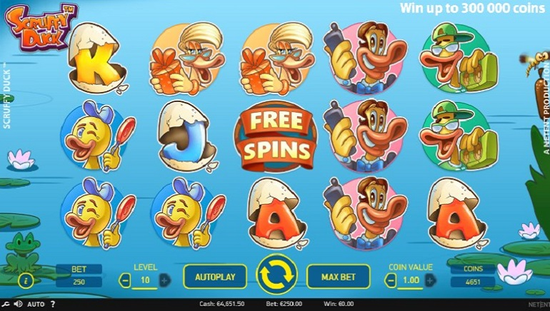 Scruffy Duck Slot Floats at NetEnt Casinos
