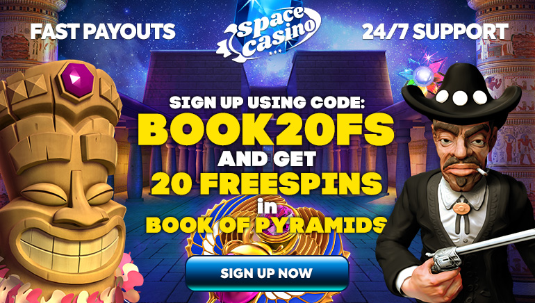 20 Free Spins on Book of Pyramids for New Players at Space Casino