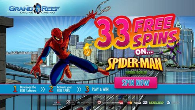 Free Spidey Spins at Grand Reef