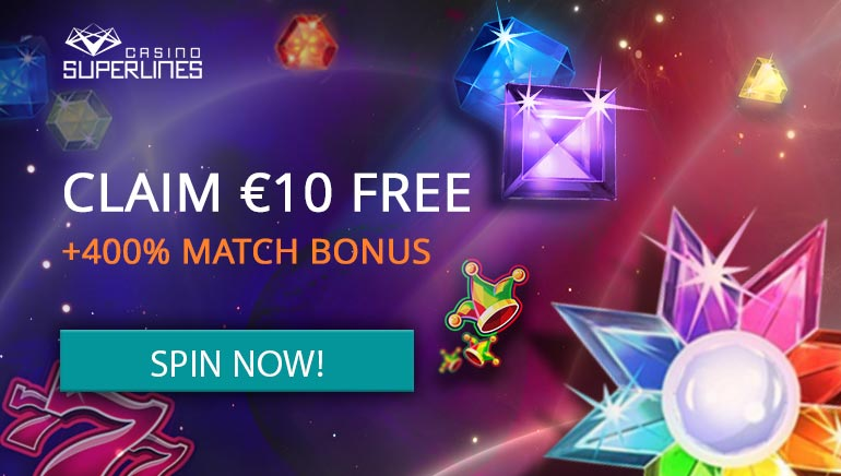 Casino Superlines Ups the Stakes with €10 Free and Huge Welcome Package