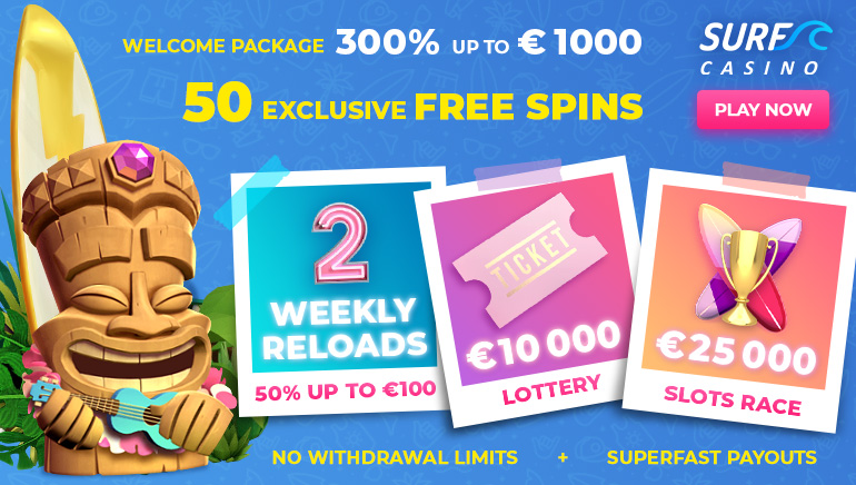 Exclusive! 50 No Deposit Free Spins at Surf Casino
