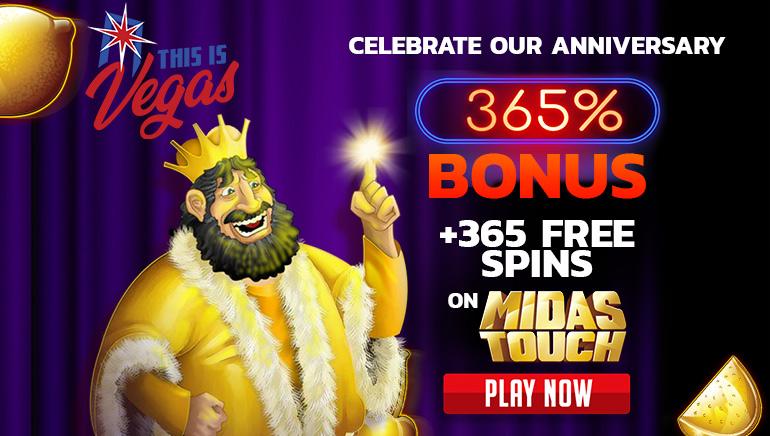 365% October Bonus & 365 Free Spins at This Is Vegas Casino