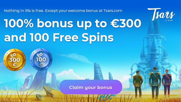 Tsars Casino - Get 100% Bonus up to $450 and 100 Free Spins