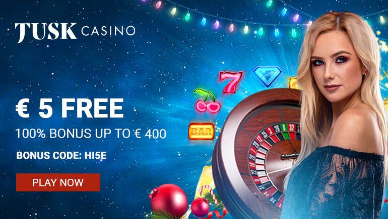 Tusk Casino Offering 100% Bonus & €5 No Deposit