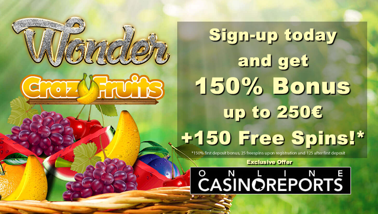 150% Welcome Bonus and 150 Free Spins at Wonder Casino