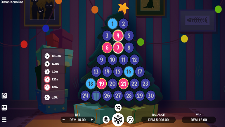 Join A Cartoon Cat In Evoplay Entertainments' New Xmas Keno Cat Game